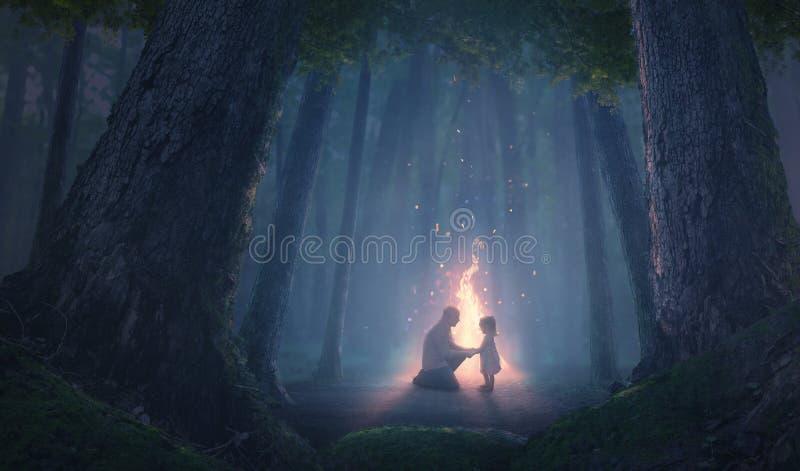 Vader en dochter bij nacht stock afbeeldingen