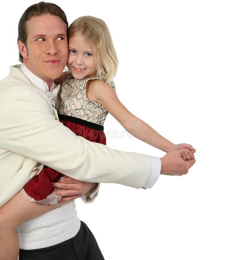 Vader en dochter die binnen dansen stock afbeelding