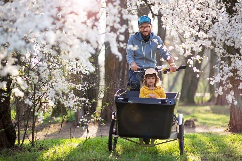 Vader en dochter die een rit met ladingsfiets hebben stock afbeeldingen