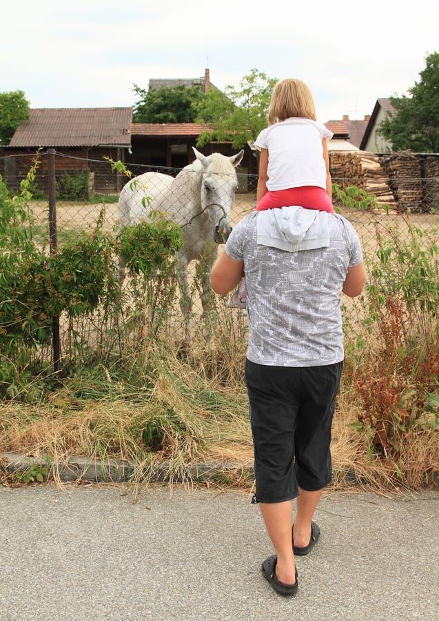 Vader en dochter het letten op paard stock fotografie