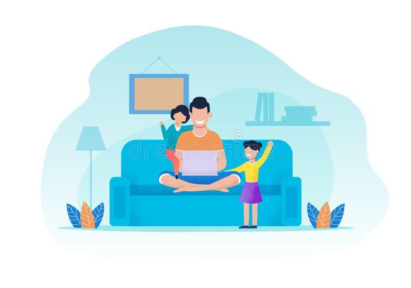 Vader en Dochters die Rust in Woonkamer hebben vector illustratie