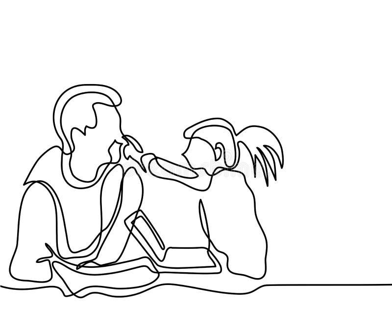 Vader en dochterspel met laptop royalty-vrije illustratie