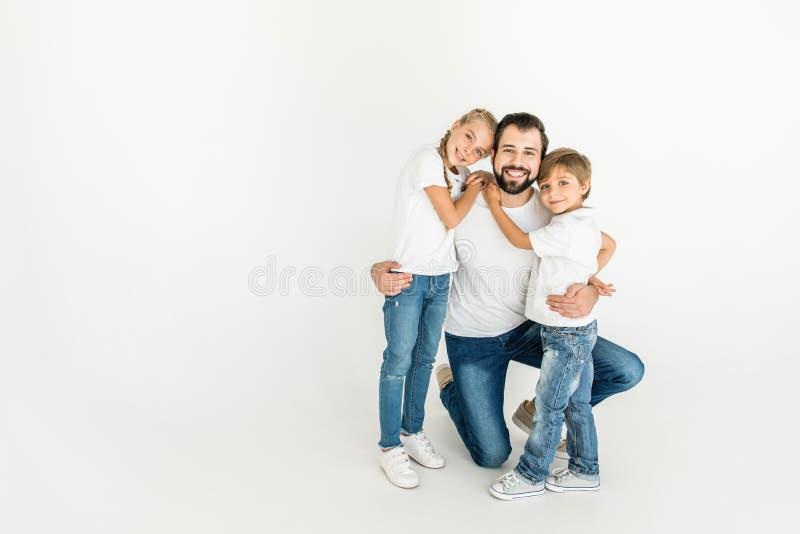 Vader en kinderen royalty-vrije stock fotografie