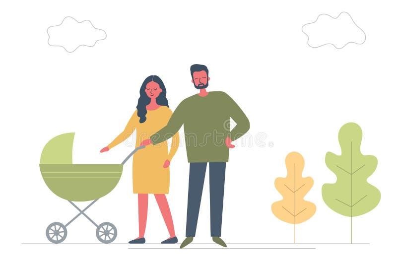 Vader en moeder met baby in wandelwagen Jonge ouders met een groen vervoer op een gang royalty-vrije illustratie