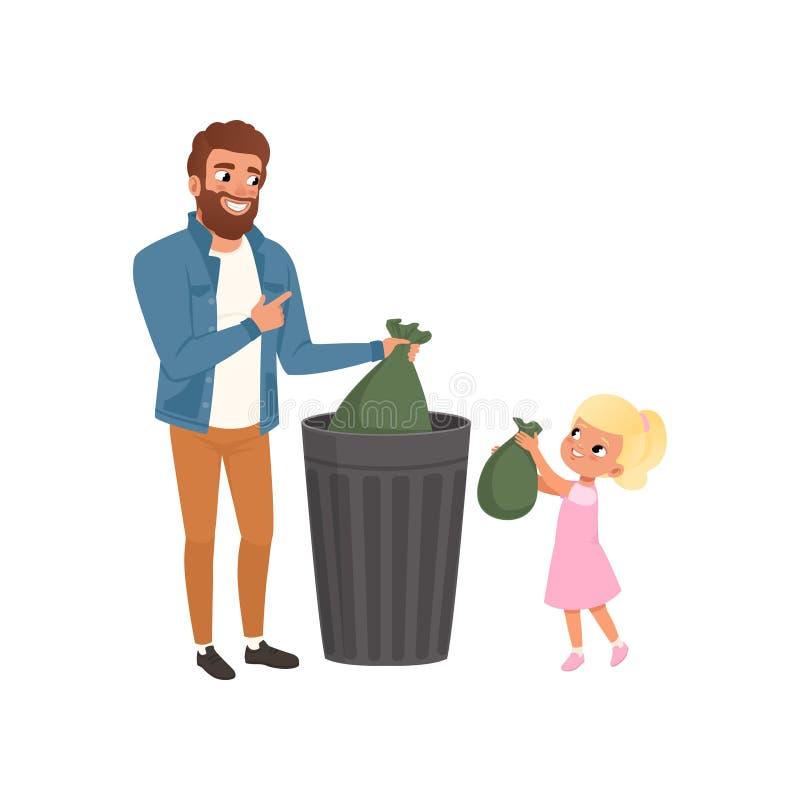 Vader en zijn kleine dochter die huisvuil werpen in een vuilnisbak samen vectorillustratie op een witte achtergrond royalty-vrije illustratie