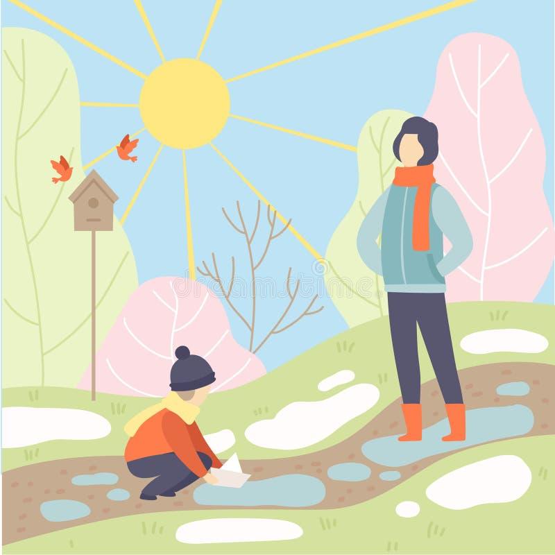 Vader en Zijn Zoon die in de Lentepark lopen, Seizoenverandering van de Winter in de Lente Vectorillustratie stock illustratie