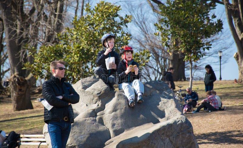 Vader en zonen bij het park royalty-vrije stock fotografie