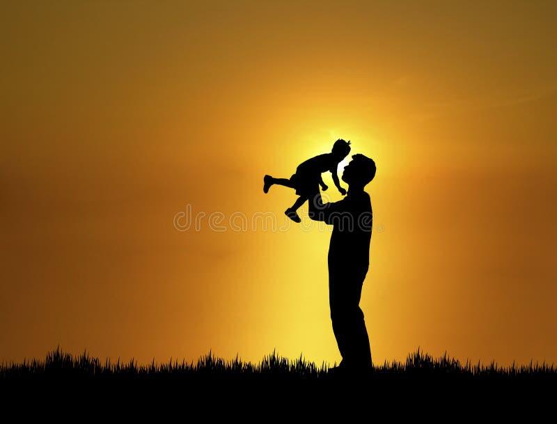 Vader en Zoon 1 stock illustratie