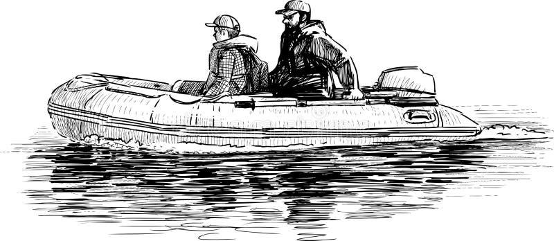 Vader en zoon in de boot stock illustratie