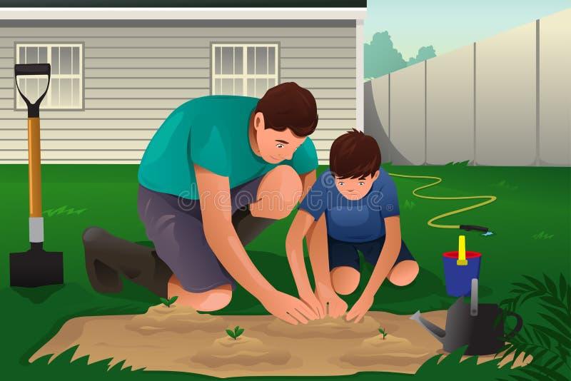 Vader en zoon die aan een bloemtuin werken royalty-vrije illustratie
