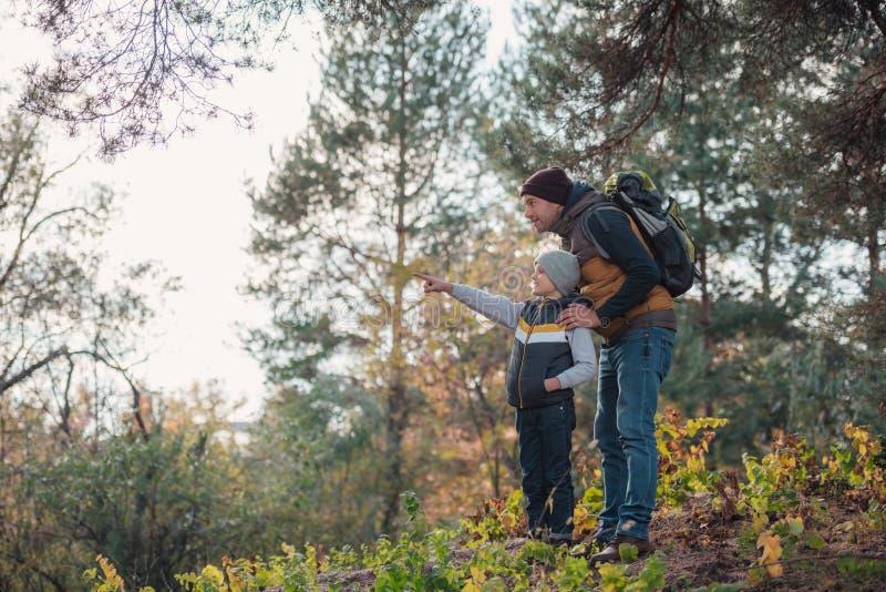 vader en zoon die met vinger richten terwijl samen wandeling royalty-vrije stock afbeelding