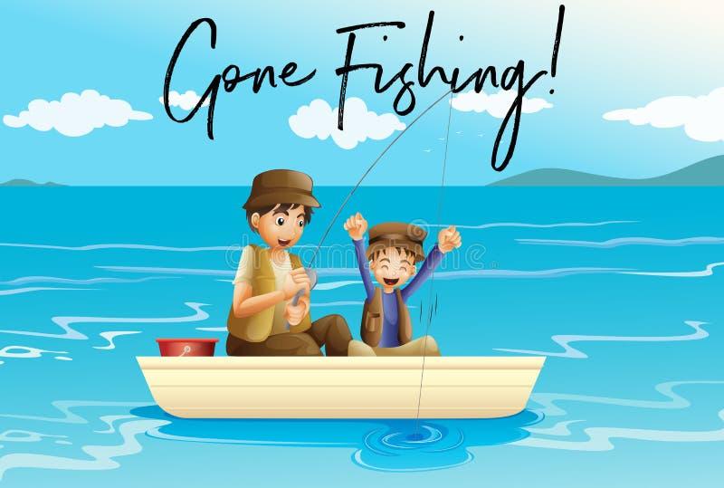 Vader en zoon die met woorden gegaane visserij vissen stock illustratie