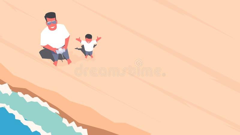 Vader en zoon die selfie gebruikend een hommel nemen stock illustratie