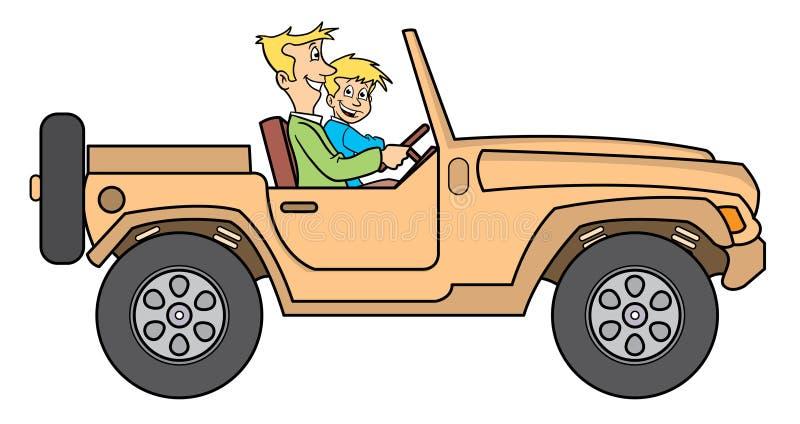 Vader en zoon in jeepillustratie