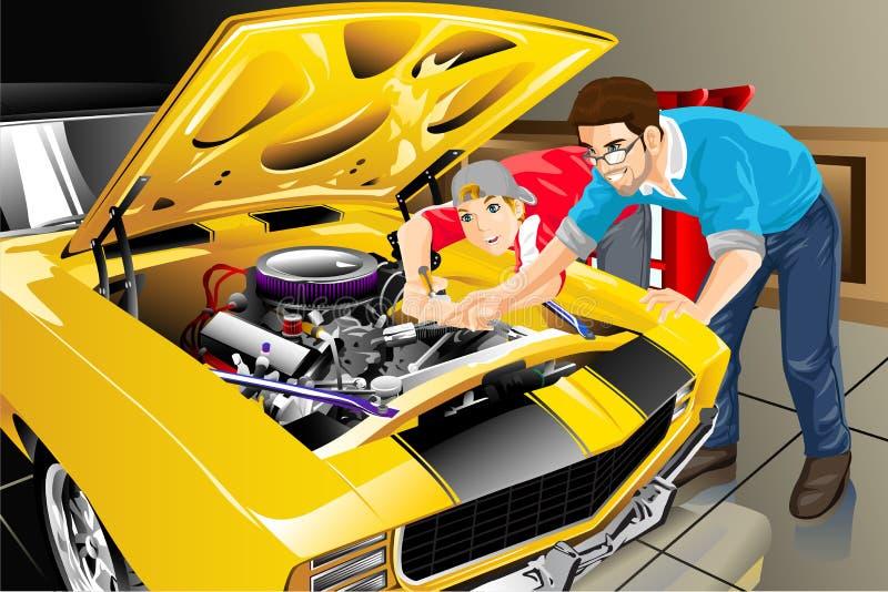 Vader en zoon met hun auto royalty-vrije illustratie