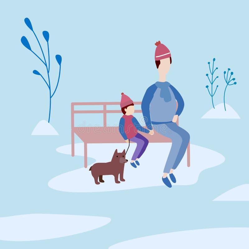 Vader en zoon openlucht Zit op een bank in het park royalty-vrije illustratie