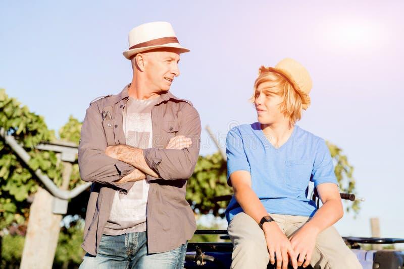 Vader en zoon in wijngaard royalty-vrije stock foto