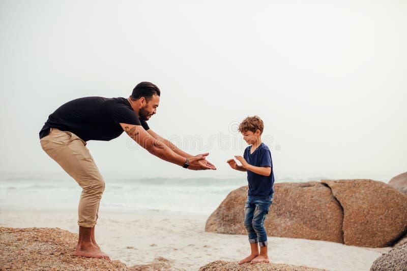Vader en zoons het spelen op het rotsachtige strand stock fotografie