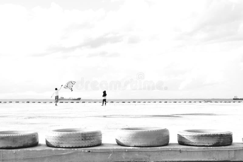Vader en zoons het spelen vlieger in een pijler royalty-vrije stock fotografie