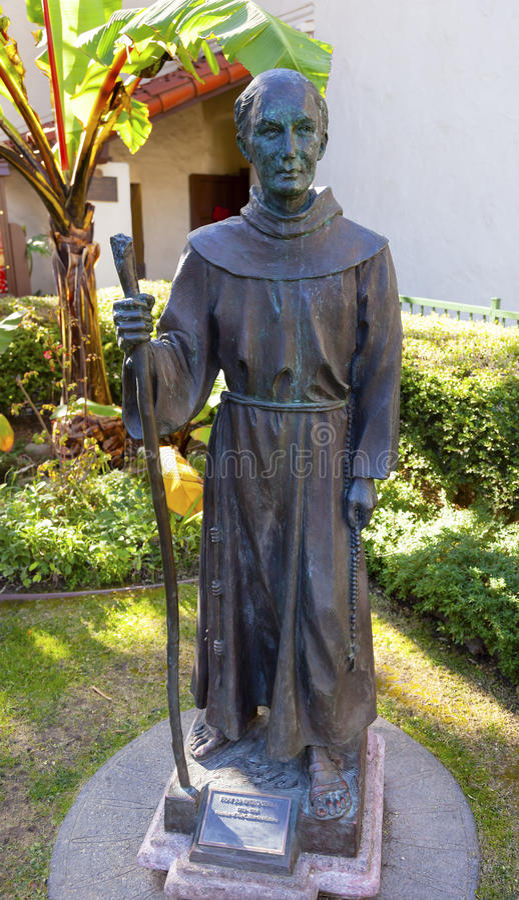 Vader Junipero Serra Statue Mission San Buenaventura Ventura Ca stock afbeelding