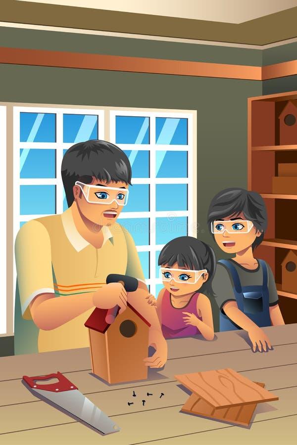 Vader Kids Making Birdhouse vector illustratie
