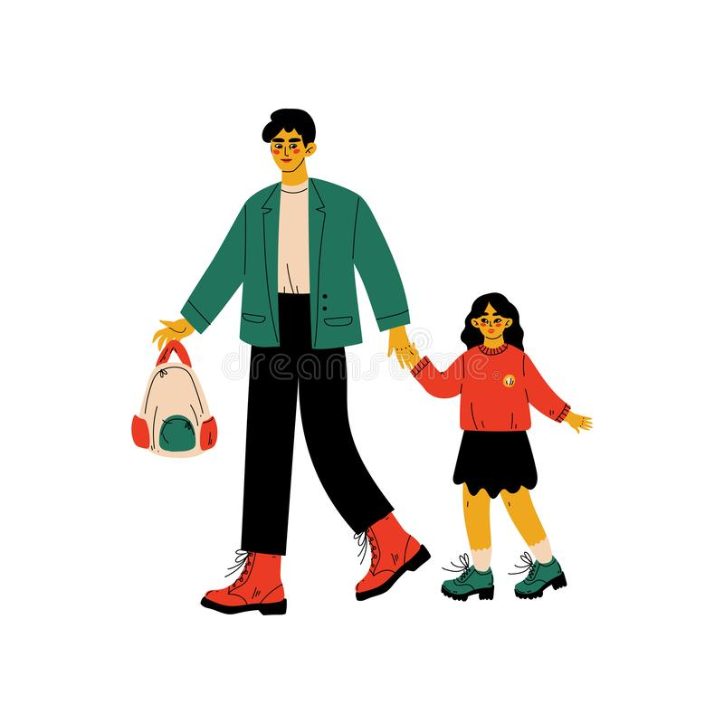 Vader Leading His Daughter aan School, Leuk Meisje en Haar Papa die samen Vectorillustratie lopen royalty-vrije illustratie