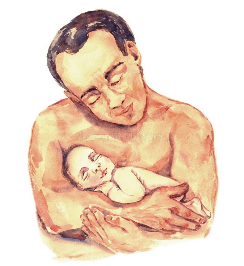 Vader met baby, hand geschilderd waterverfportret in zachte geïsoleerde kleuren vector illustratie