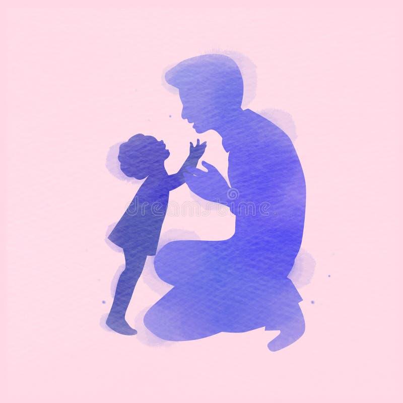 Vader met dochtersilhouet plus abstracte geschilderde waterverf Gelukkige Vader` s dag Het digitale kunst schilderen Vector illus stock illustratie