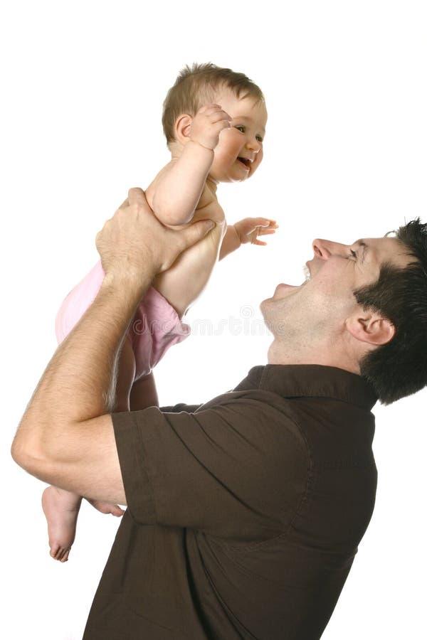 vader met mooi babymeisje stock afbeeldingen
