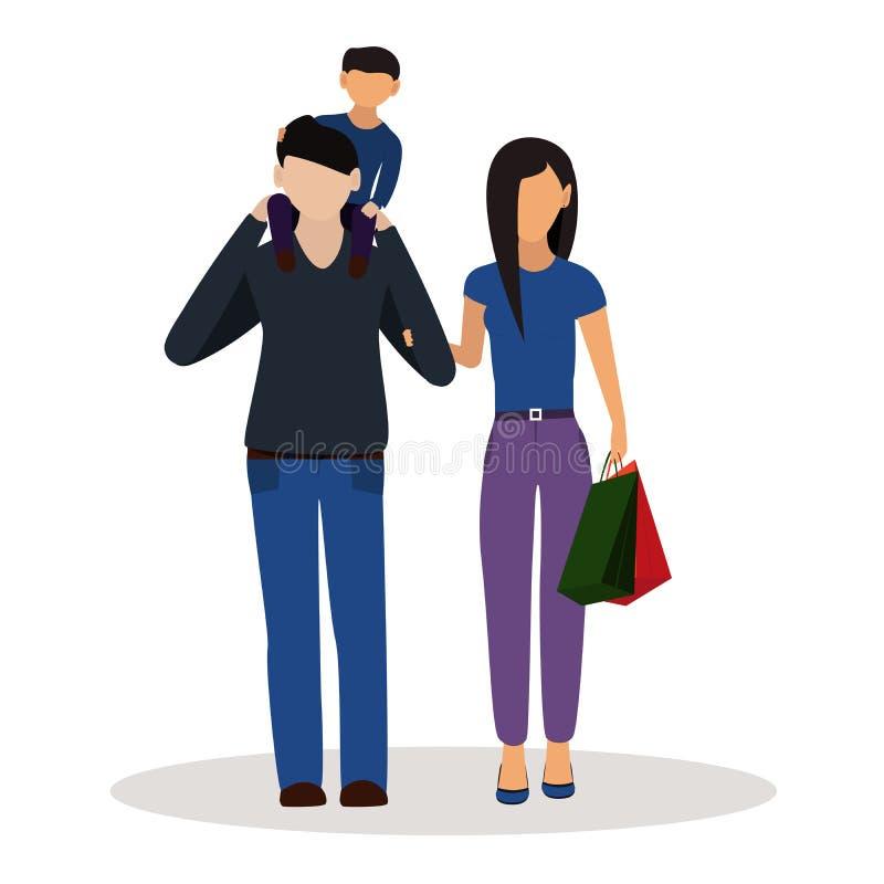 Vader, moeder en zoon samen op witte achtergrond vector illustratie