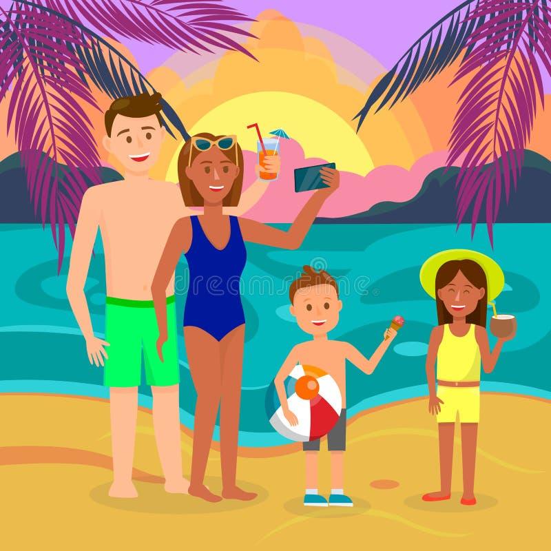 Vader, Moeder, Zoon, Dochter op de Zomervakantie vector illustratie
