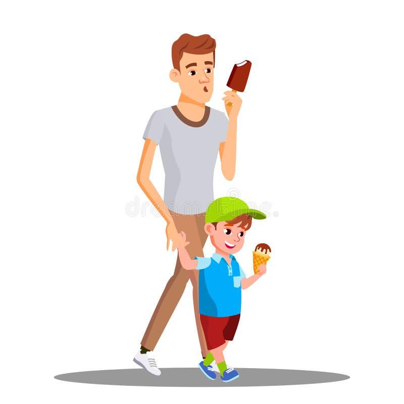 Vader And Son Enjoy die Roomijsvector eten Geïsoleerdeo illustratie stock illustratie