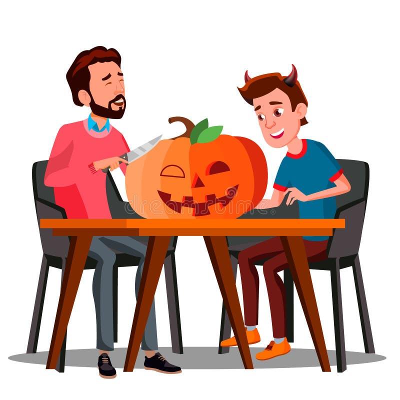 Vader And Son Making een Pompoen voor Halloween-Vector Geïsoleerde Halloween-Illustratie royalty-vrije illustratie