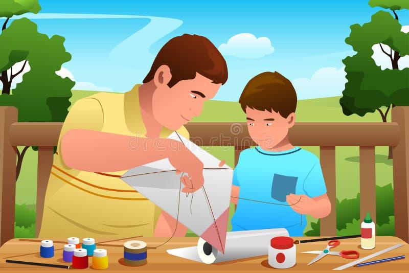 Vader Son Making Kite royalty-vrije illustratie