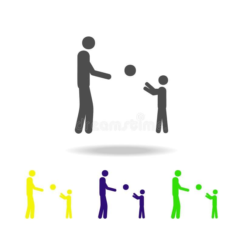 vaderspelen met het kind in de bal multicolored pictogrammen Element van het leven gehuwde mensenillustratie De tekens en de symb stock illustratie