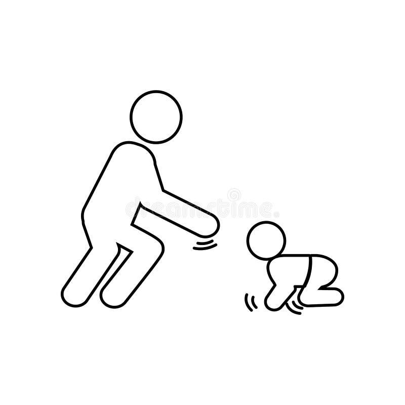 Vaderspelen met het kindpictogram Element van Familie voor mobiel concept en webtoepassingenpictogram Overzicht, dun lijnpictogra stock illustratie