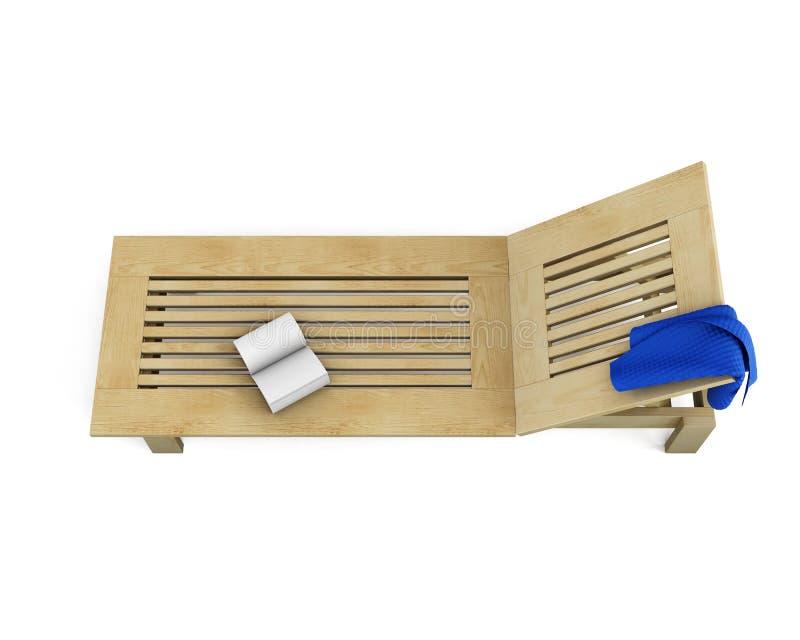 Vadio de madeira do sol com uma toalha e um livro nele 3d ilustração royalty free