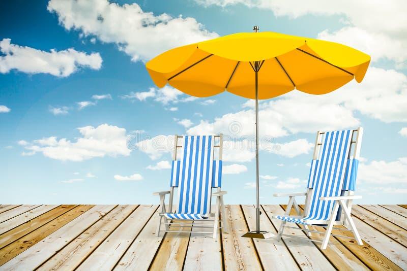Vadios e guarda-chuva de Sun foto de stock royalty free