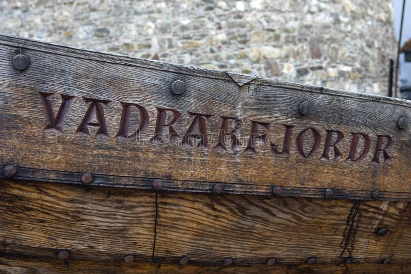Vadrarfjordr Viking Longboat en Waterford imagen de archivo