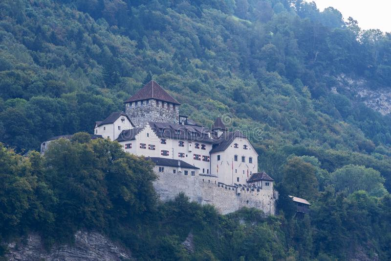 Castle on the hill landscape, mountains and peaks in background, natural environment. stock photos