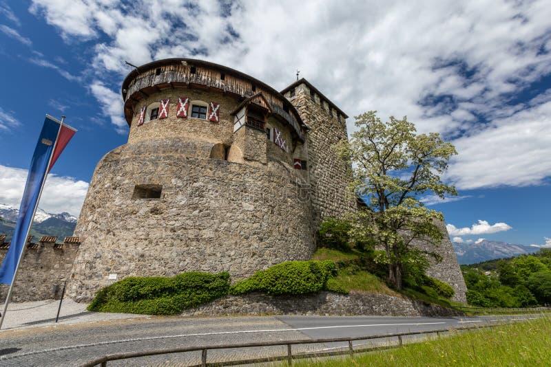 Vaduz Castle with mountain road in Liechtenstein. Alps landscape royalty free stock images
