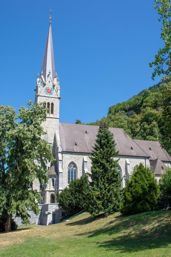 Vaduz katedra na beautitful słonecznym dniu obraz stock