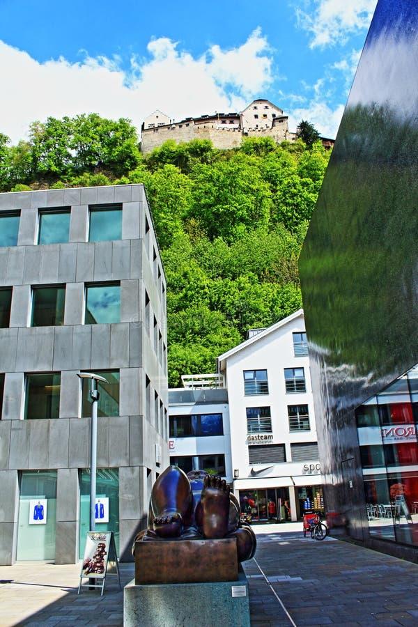 Vaduz sikt Liechtenstein royaltyfria foton