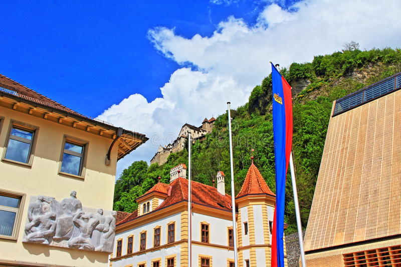Vaduzgebouwen Liechtenstein royalty-vrije stock afbeelding