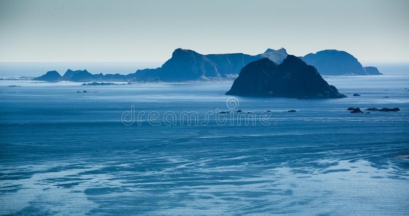 Vaeroy and Mosken Islands, Lofoten Archipelago, Norway stock image