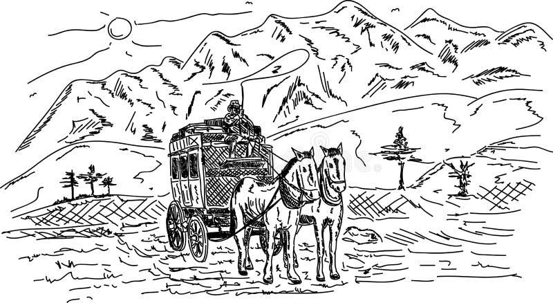 Vagão do cavalo ilustração do vetor