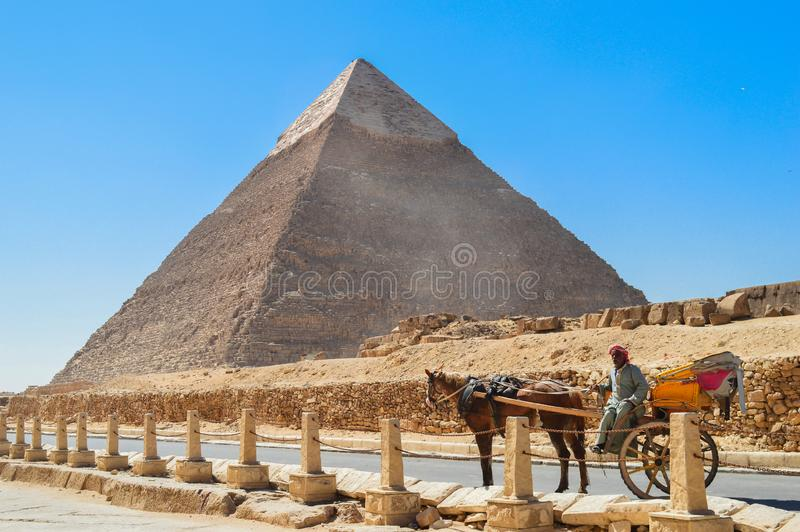 Vagão do cavalo em pirâmides de Giza imagem de stock royalty free