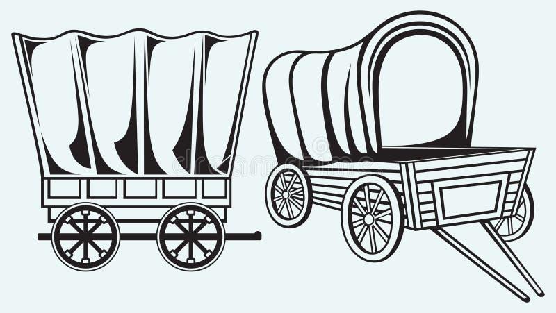 Vagão do vintage a transportar ilustração do vetor