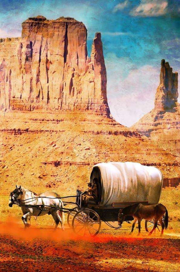 Vagão no deserto no grunge ilustração stock