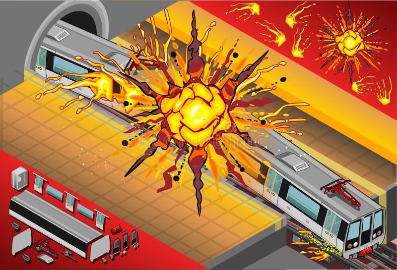 Vagões isométricos do metro explodidos na estação ilustração royalty free